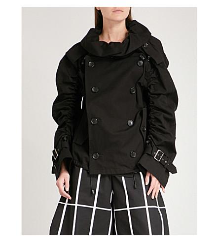 JUNYA WATANABE Gathered-sleeve cotton jacket (Black