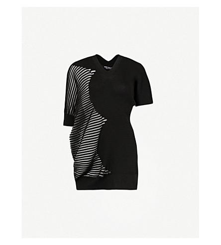 JUNYA WATANABE Striped-panel wool-blend top (Black/white