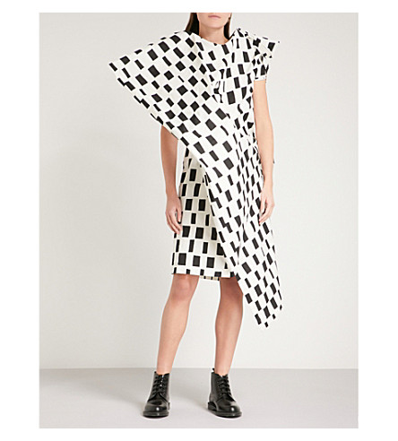 JUNYA WATANABE Marimekko-print asymmetric cotton dress (Off+white/black