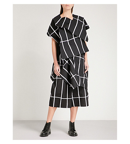 JUNYA WATANABE Folded checked cotton-canvas dress (Black/white
