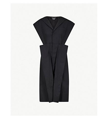 JUNYA WATANABE Pinstripe wool-blend coat (Navy+off+white