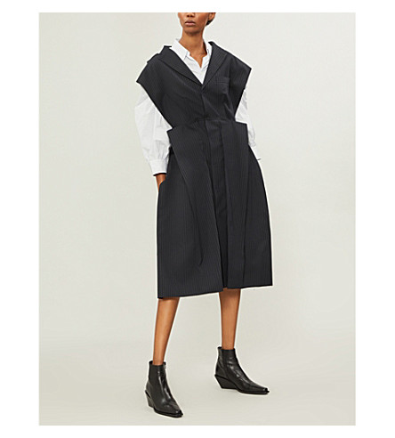 JUNYA WATANABE Pinstripe wool-blend coat (Navy+off+white