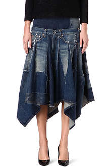 JUNYA WATANABE Drop-waist denim flared hem skirt