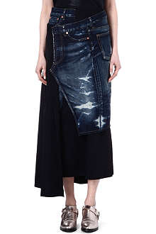 JUNYA WATANABE Denim and wool skirt