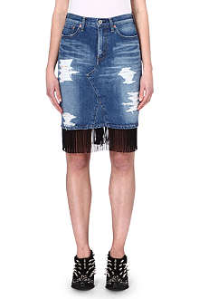 JUNYA WATANABE Fringed denim pencil skirt