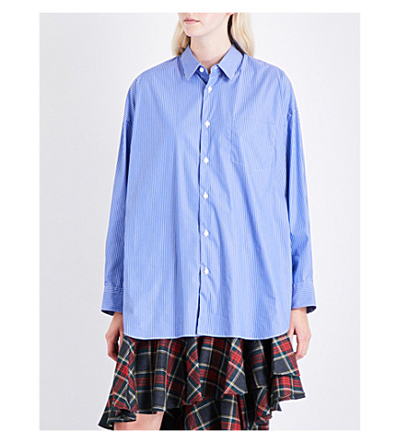 JUNYA WATANABE Oversized pinstriped cotton-poplin shirt (Blu/wht+x+nvy/red