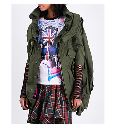 JUNYA WATANABE Faux-fur-lined cotton jacket (Green