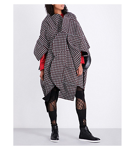 JUNYA WATANABE Checked wool dress (Blk/wht/red+x+mix