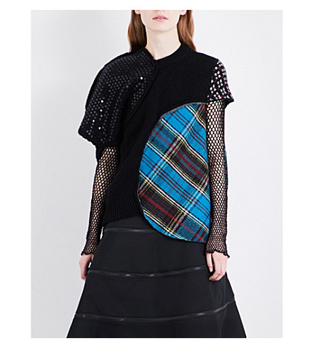 JUNYA WATANABE Tartan-panelled wool-blend jumper (Multi