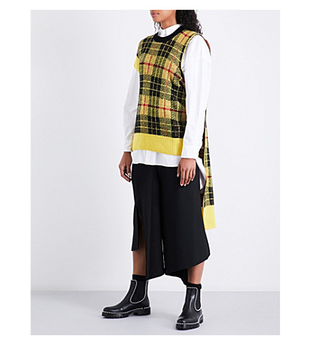 JUNYA WATANABE Cape-panel tartan wool-blend jacket (Yellow
