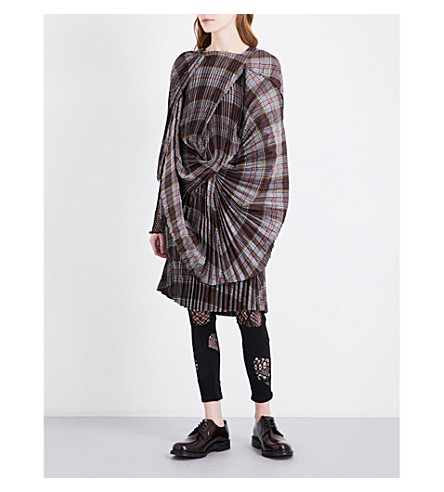 JUNYA WATANABE Tartan twisted woven dress (Grey/red