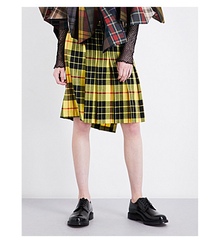 JUNYA WATANABE Tartan wool midi skirt (Yellow/black