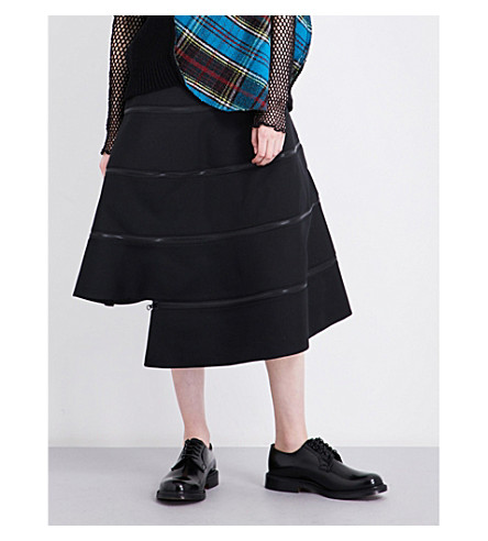 JUNYA WATANABE Zip-detailed asymmetric woven skirt (Black