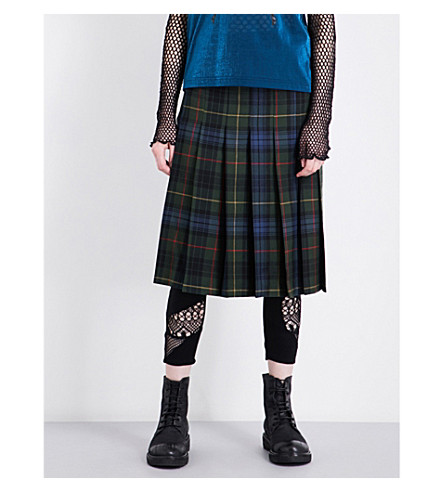 JUNYA WATANABE Tartan wool midi skirt (Grn/nvy/red