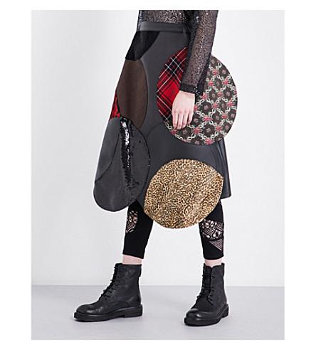 JUNYA WATANABE Asymmetric-hem patchwork skirt (Black+x+mix