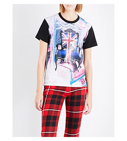 JUNYA WATANABE Printed cotton-jersey T-shirt (Black+x+pink