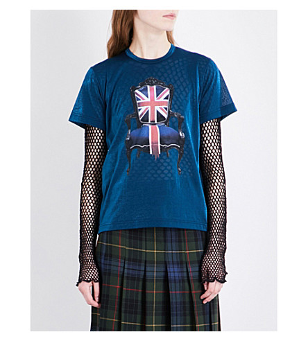 JUNYA WATANABE Britannia semi-sheer T-shirt (Blue+x+nvy/red