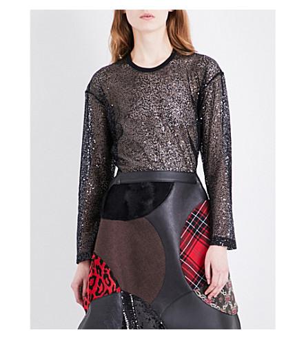 JUNYA WATANABE Sheer long-sleeved sequinned top (Black+x+mix