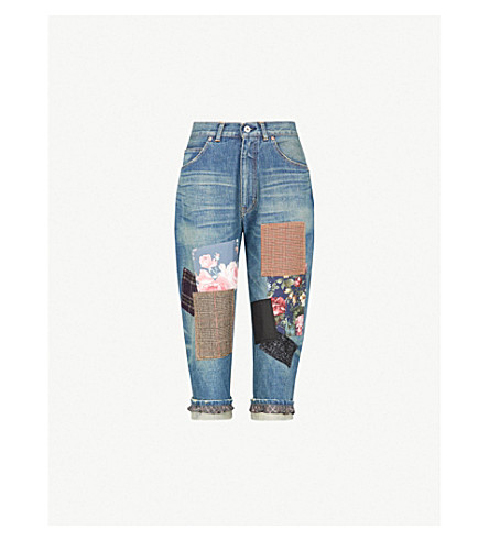 JUNYA WATANABE Contrasting patchwork cropped loose-fit high-rise denim jeans (Indigo mix