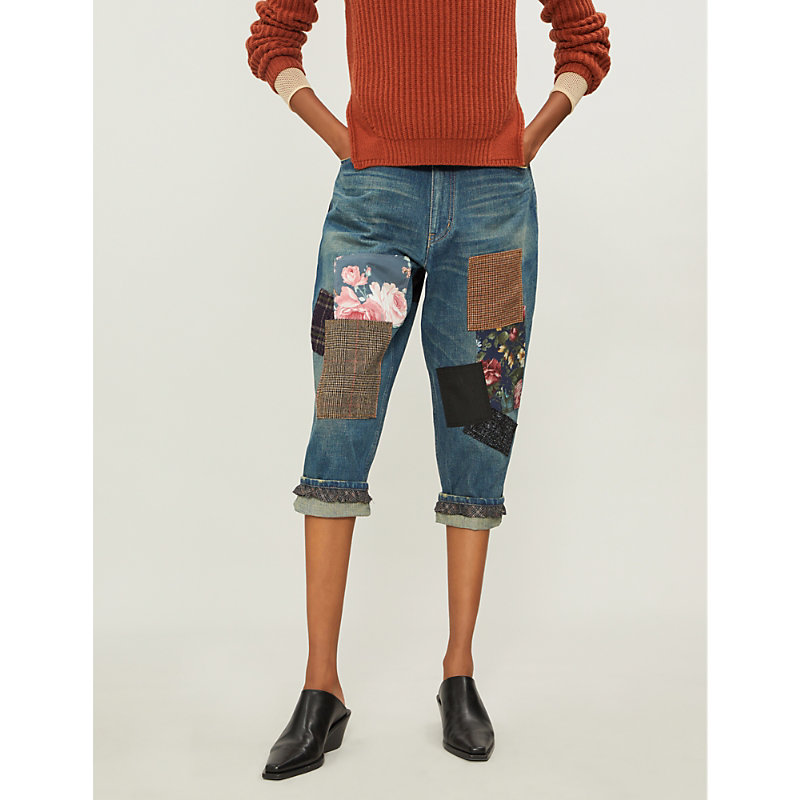 Contrasting patchwork cropped loose-fit high-rise denim jeans