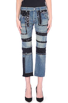 JUNYA WATANABE Patchwork straight cropped denim jeans