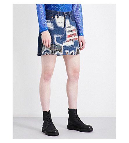 JUNYA WATANABE Distressed tartan-patch mid-rise denim skirt (Indigo+x+mix