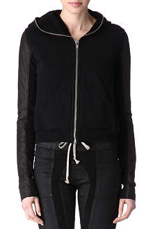 RICK OWENS Leather-detail hooded jacket