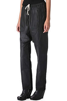RICK OWENS Coated dropped-crotch trousers