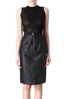 GARETH PUGH Leather pencil skirt with braces