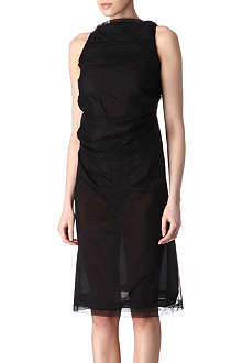 RICK OWENS Mesh ruched-back dress