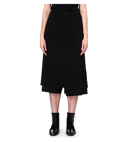 YOHJI YAMAMOTO Wrap-detail wool trousers (Black