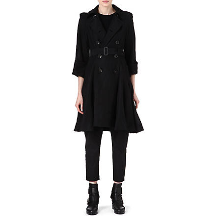 YOHJI YAMAMOTO Pleated skirt detail trench coat (Black