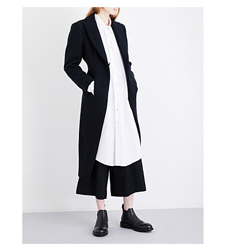 YOHJI YAMAMOTO Kick-pleat tailored wool-blend coat (Black