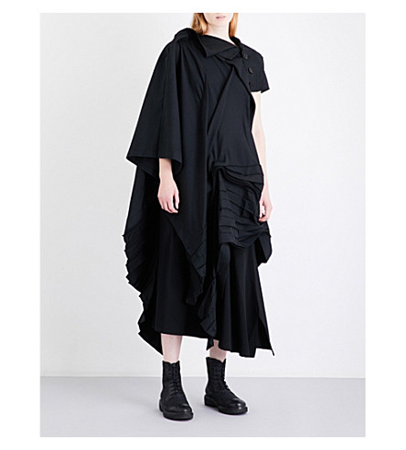YOHJI YAMAMOTO Pleated asymmetric wool-blend dress (Black