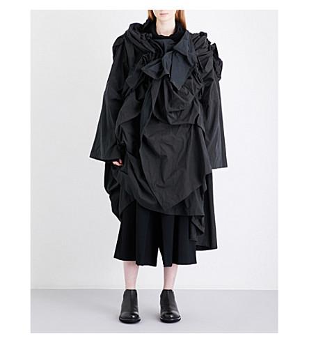 YOHJI YAMAMOTO 3D-pleat asymmetric woven dress (Black