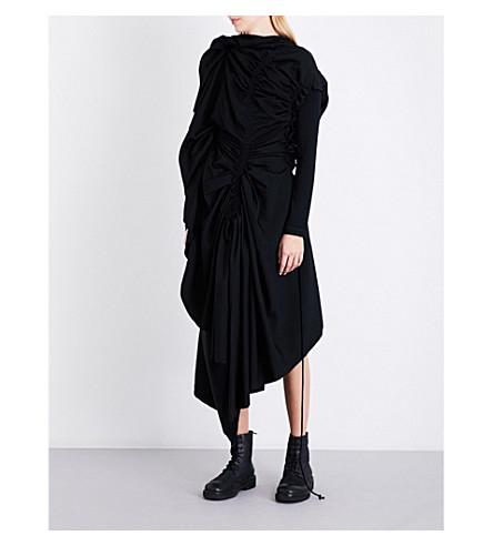 YOHJI YAMAMOTO Draped asymmetric wool dress (Black