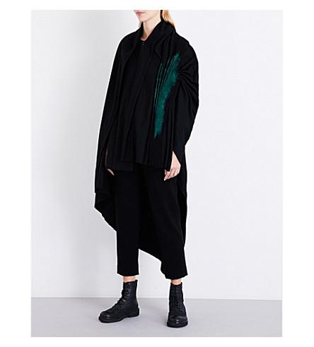YOHJI YAMAMOTO Paint-detail cape-panel wool-blend jacket (Black