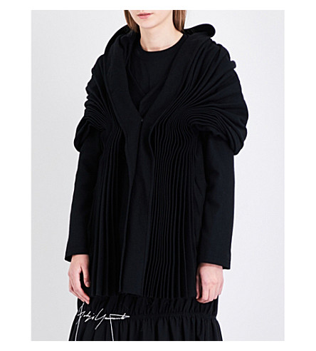 YOHJI YAMAMOTO Muffler pleated wool-blend jacket (Black