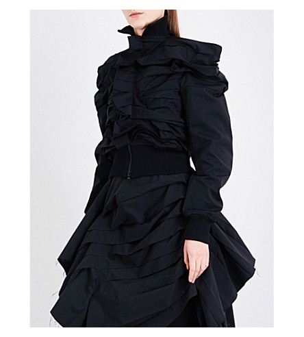 YOHJI YAMAMOTO Horizontal pleated cotton-blend jacket (Moss+green