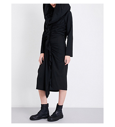 YOHJI YAMAMOTO Hooded pleated midi dress (Black