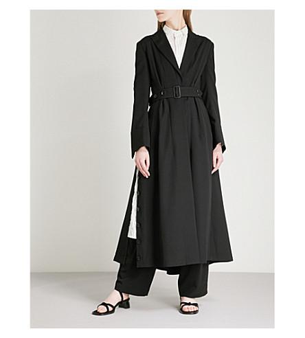 YOHJI YAMAMOTO Belted split-side wool coat (Black