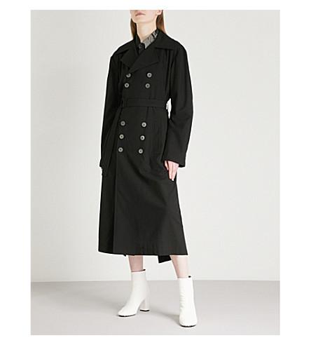 YOHJI YAMAMOTO Open-back double-breasted woven coat (Black