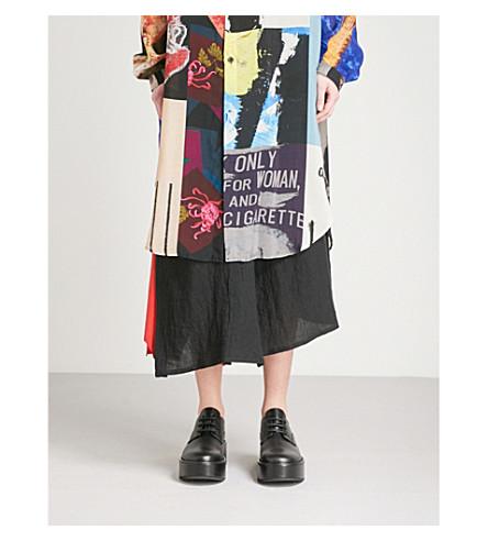 YOHJI YAMAMOTO Leather-insert linen skirt (Black