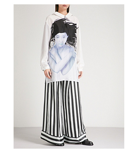 YOHJI YAMAMOTO Oversized silk shirt (Black