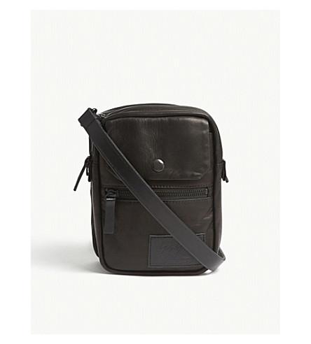 YOHJI YAMAMOTO Double leather shoulder bag (Black