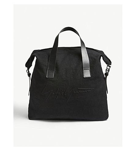 YOHJI YAMAMOTO Embroidered large linen tote bag (Black