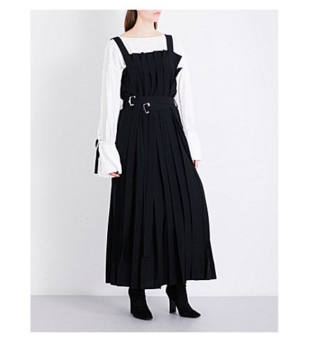 LIMI FEU Belted pleated wool-twill midi dress (Black