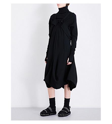 LIMI FEU Draped wool-twill midi dress (Black