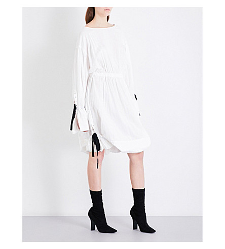 LIMI FEU Ruched cotton-twill shirt dress (White