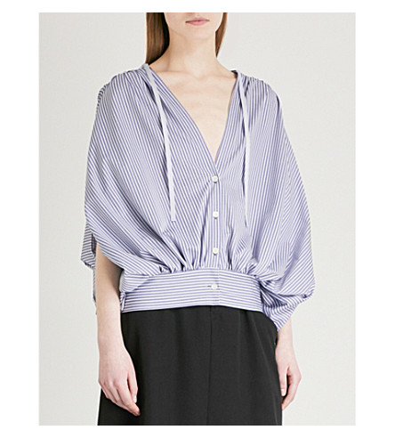 LIMI FEU Gathered striped cotton-blend shirt (Purple
